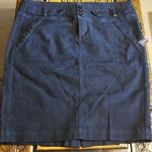 3-Button Denim Pencil Skirt